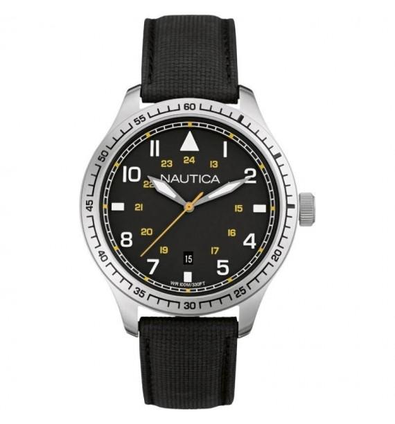 Orologio Nautica Nero da uomo con cinturino in pelle A10097G